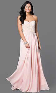 Image of strapless floor-length prom dress with corset back. Style: DQ-9312 Detail Image 2