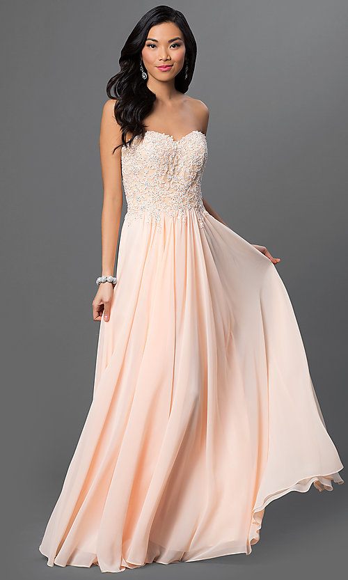 Image of strapless floor-length prom dress with corset back. Style: DQ-9312 Front Image