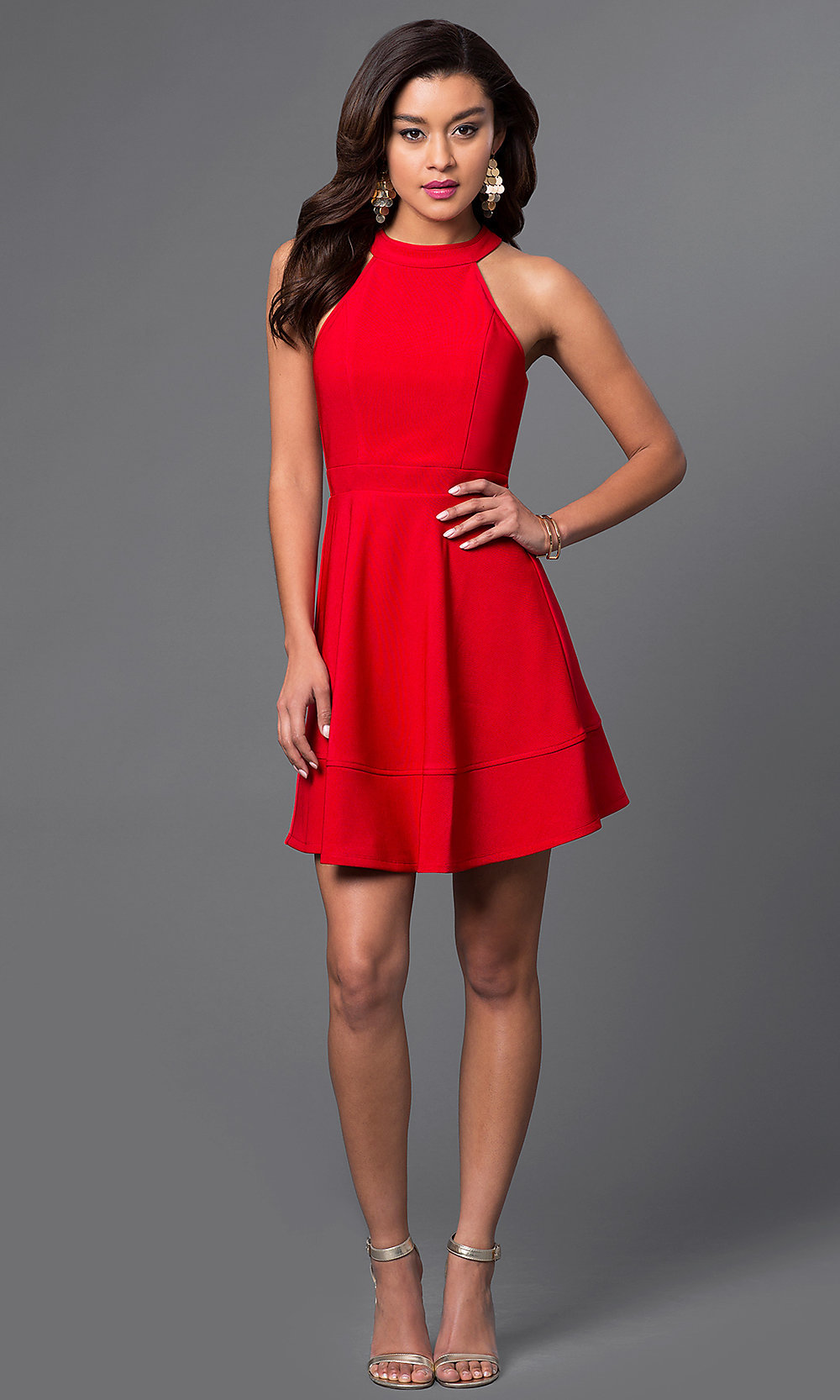 Cheap Red High-Neck Homecoming Dress - PromGirl Red Dresses Om