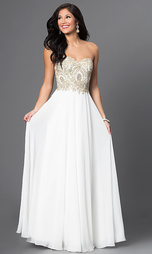 Image of long sweetheart chiffon dress with beaded bodice Style: DQ-9502 Front Image