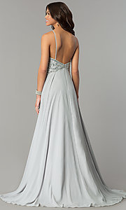 Image of beaded-bodice long Dave & Johnny chiffon prom dress. Style: DJ-2143 Back Image