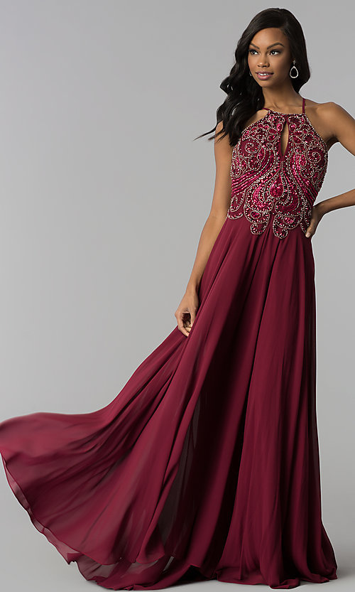 Image of beaded-bodice long Dave & Johnny chiffon prom dress. Style: DJ-2143 Detail Image 2