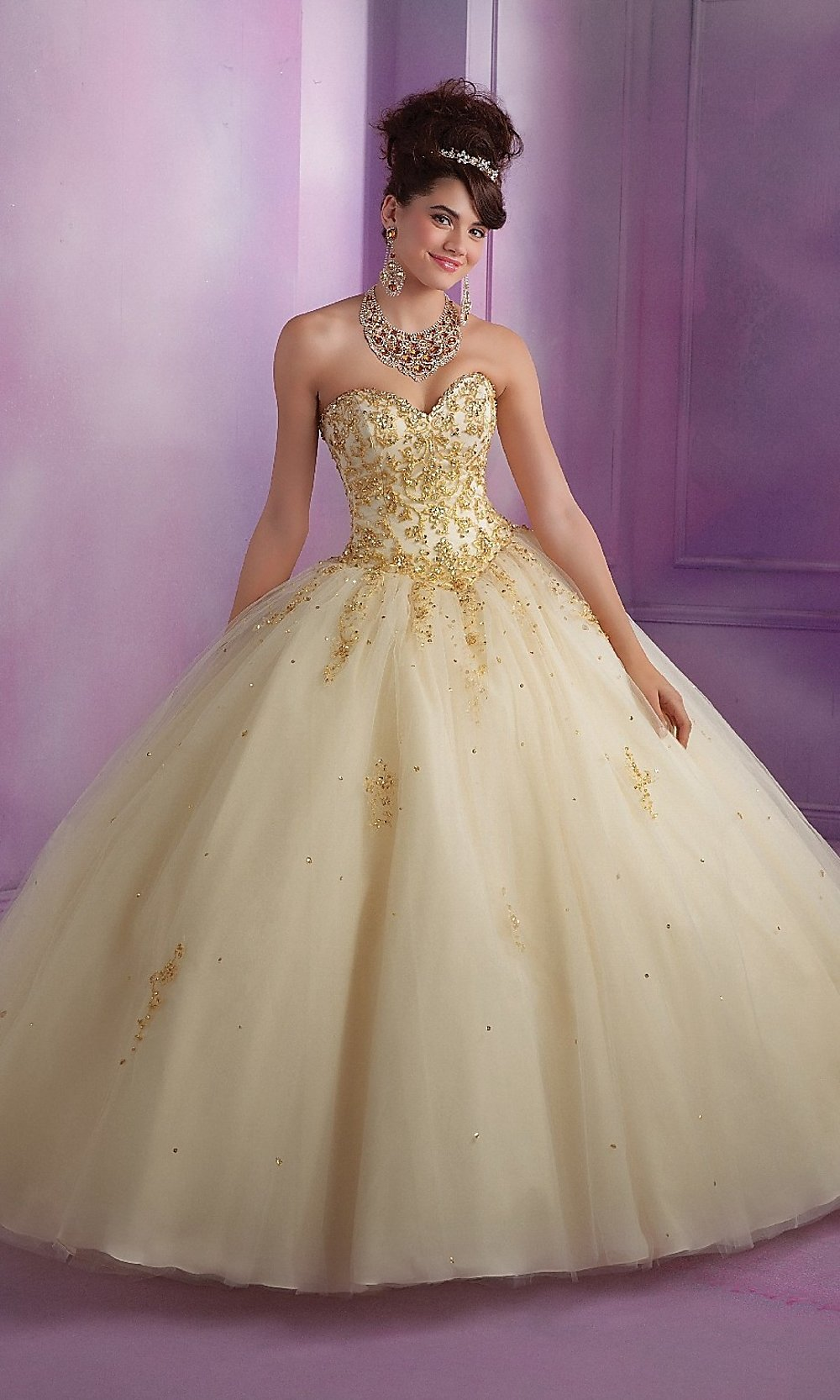 Embroidered Strapless Quinceanera Dress by Mori Lee