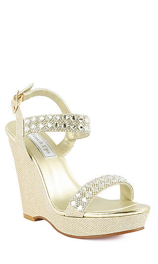 Brynn Gold Wedge Beaded Heel
