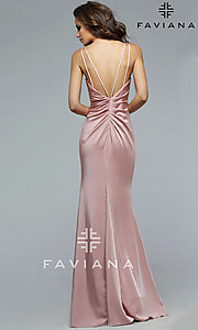 Image of long Faviana open-back prom dress with ruching. Style: FA-7755b Back Image