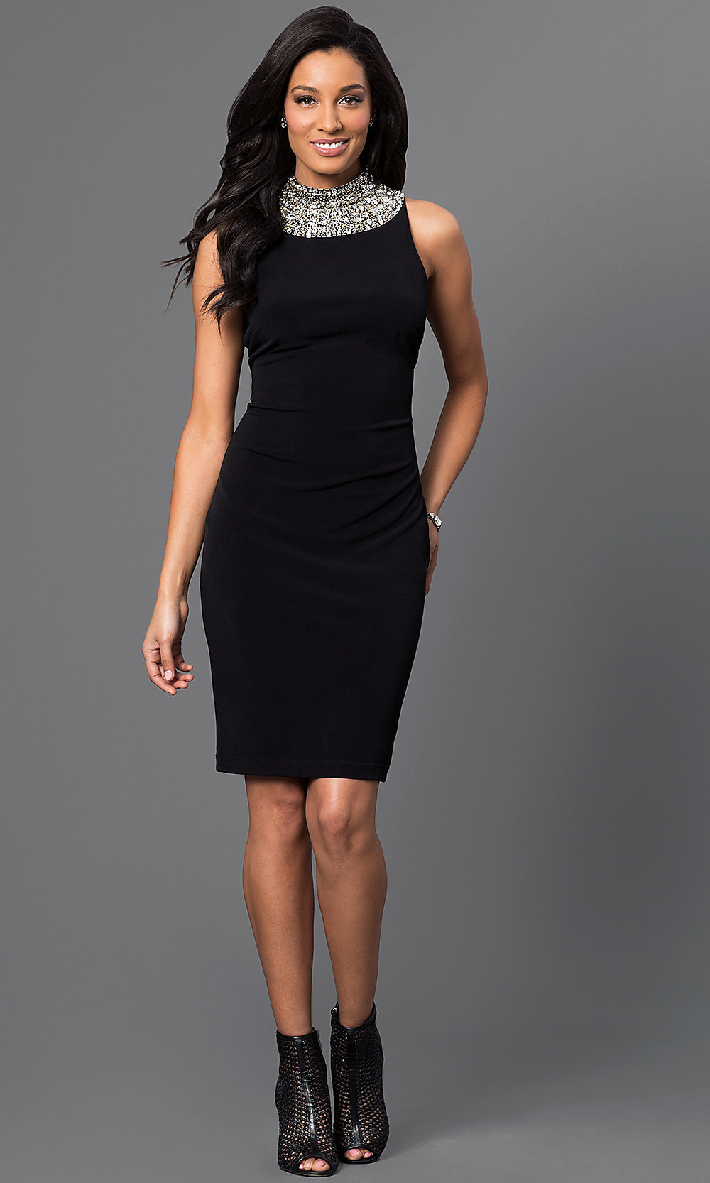 This Jewel Encrusted Round Neck Dress is the