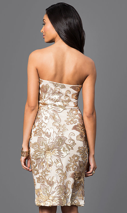 Image of knee-length party dress with sequin appliques. Style: JU-MA-263074 Back Image