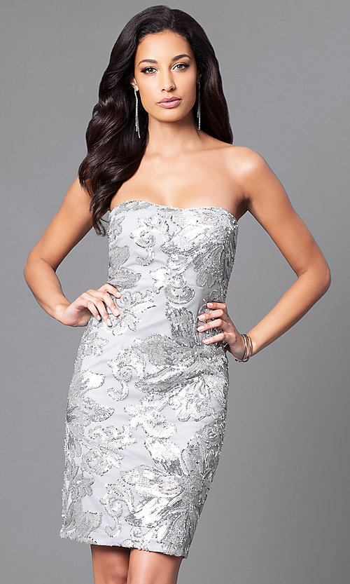 Image of knee-length party dress with sequin appliques. Style: JU-MA-263074 Front Image