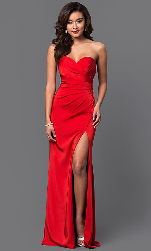 Image of strapless sweetheart long formal evening gown. Style: FA-7891 Detail Image 1