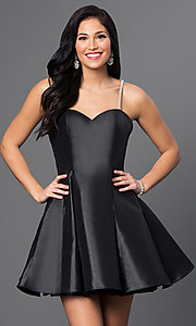 Image of short rhinestone spaghetti strap a-line dress. Style: BL-PG016 Front Image