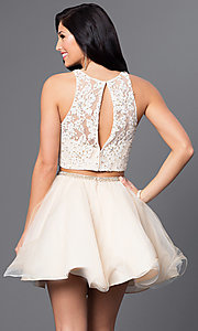 Image of white and nude two-piece Blush homecoming dress. Style: BL-PG028 Back Image