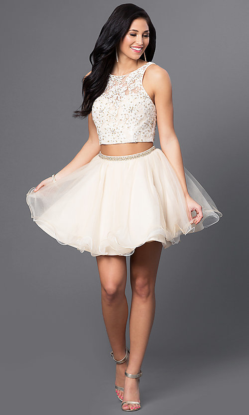 Image of white and nude two-piece Blush homecoming dress. Style: BL-PG028 Detail Image 1