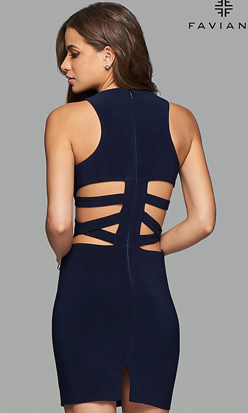 Image of short sleeveless dress with side and back cut-outs. Style: FA-7853 Back Image