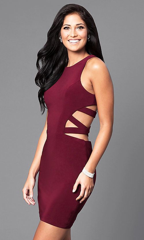 Image of short sleeveless dress with side and back cut-outs. Style: FA-7853 Detail Image 2