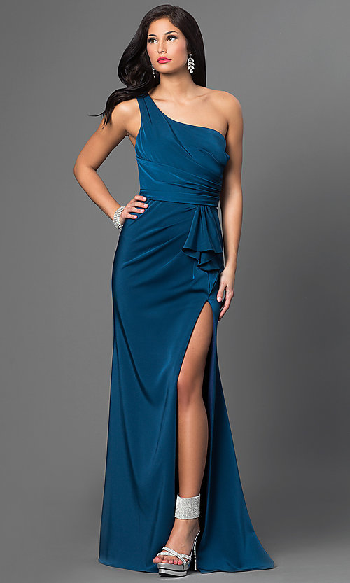 Image of one-shoulder floor-length Faviana dress.  Style: FA-7892 Front Image