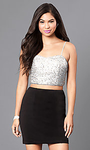 Image of mock two-piece homecoming party dress with sequins. Style: EM-ELE-2394-060 Front Image
