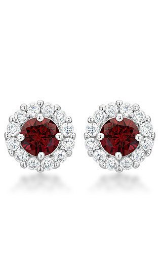 Round Dark Red and Clear Cubic Zirconia Studs