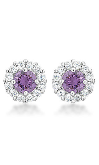 Purple and Clear Cubic Zirconia Round Studs