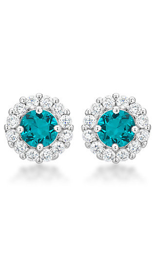 Turquoise and Clear Cubic Zirconia Round Studs