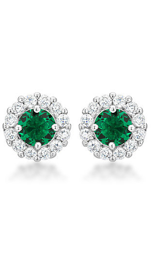 Emerald Green and Clear Cubic Zirconia Round Studs