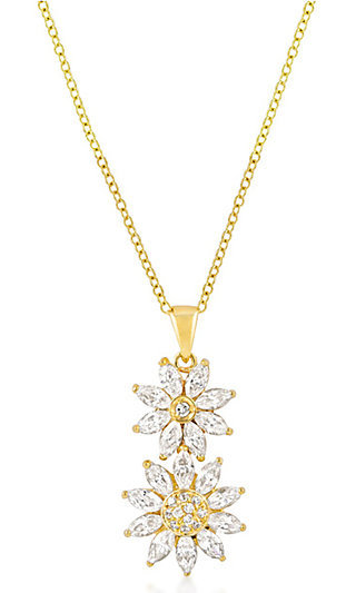 Gold and Clear Crystal Flower Drop Pendant