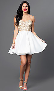 Image of sequined-bodice Blush Exclusive homecoming dress. Style: BL-PG024 Detail Image 1