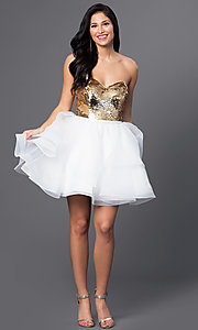 Image of short sequined sweetheart babydoll dress. Style: BL-PG027 Detail Image 2