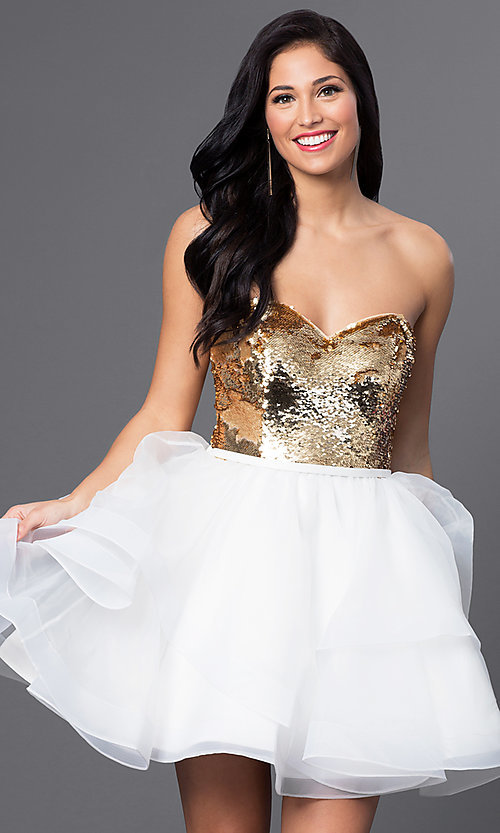 Image of short sequined sweetheart babydoll dress. Style: BL-PG027 Front Image