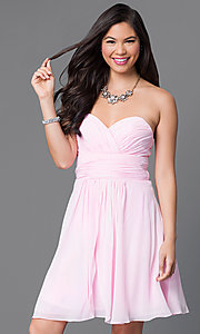 Image of short strapless homecoming dress with ruched bodice. Style: JT-757 Front Image