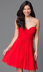 Image of short strapless homecoming dress with ruched bodice. Style: JT-757 Detail Image 3
