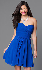 Image of short strapless homecoming dress with ruched bodice. Style: JT-757 Detail Image 1