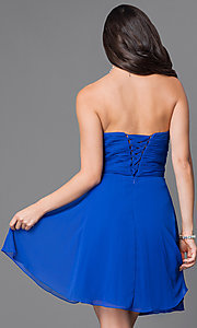 Image of short strapless homecoming dress with ruched bodice. Style: JT-757 Back Image
