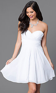Image of short strapless homecoming dress with ruched bodice. Style: JT-757 Detail Image 2