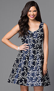 Image of short sleeveless textured-print homecoming dress. Style: MT-8082 Detail Image 2