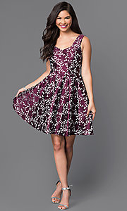 Image of short sleeveless textured-print homecoming dress. Style: MT-8082 Detail Image 1