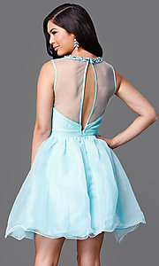 Image of short sleeveless illusion and tulle sweetheart dress Style: CL-Di259 Back Image