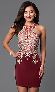 Image of short high-neck Dave & Johnny homecoming dress. Style: DJ-2973 Front Image