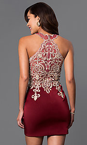 Image of short high-neck Dave & Johnny homecoming dress. Style: DJ-2973 Back Image