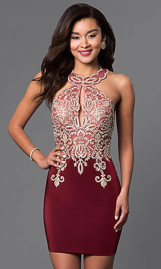 Short High-Neck Dave & Johnny Homecoming Dress