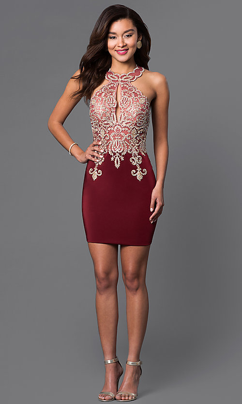 Image of short high-neck Dave & Johnny homecoming dress. Style: DJ-2973 Detail Image 2