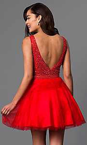 Image of short red v-neck semi-formal dress with beads. Style: DJ-A4190 Back Image