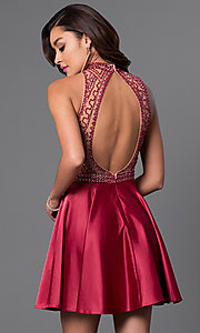 Image of Dave and Johnny burgundy open-back homecoming dress. Style: DJ-A4311 Back Image