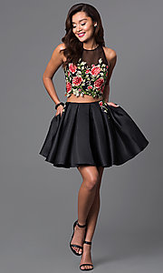 Image of two-piece short lace-bodice black dress.  Style: DJ-A4515 Detail Image 2