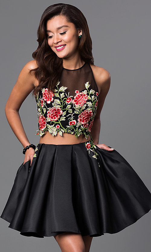 Image of two-piece short lace-bodice black dress.  Style: DJ-A4515 Front Image