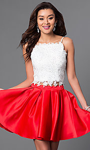 Image of beaded lace-top short two-piece homecoming dress. Style: DJ-A4524 Front Image