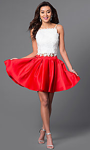 Image of beaded lace-top short two-piece homecoming dress. Style: DJ-A4524 Detail Image 1