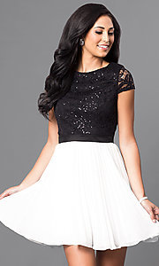 Image of black and white short-sleeve homecoming dress. Style: DMO-J311236 Front Image