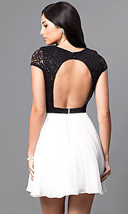 Image of black and white short-sleeve homecoming dress. Style: DMO-J311236 Back Image
