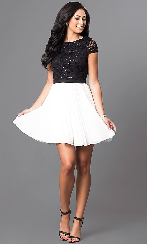 Image of black and white short-sleeve homecoming dress. Style: DMO-J311236 Detail Image 1