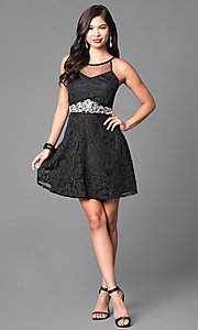 Image of little black homecoming dress with scoop neckline. Style: DMO-J312766 Detail Image 1